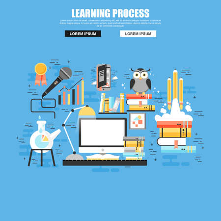 Flat concept of learning and brain process, creativity, innovation, learn to think, education, knowledge, back to school.
