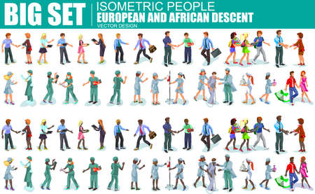 african descent: Set of isometric people of different professions european and african descent, hospital staff, surgeon, doctor, nurse, freelancers, business woman and businessman in suits. Vector illustration.