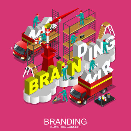 metaphoric: Brand creation branding process flat 3d isometric concept web vector illustration. Brand name company. Construction site workers vehicles crane building big word. Creative people collection.