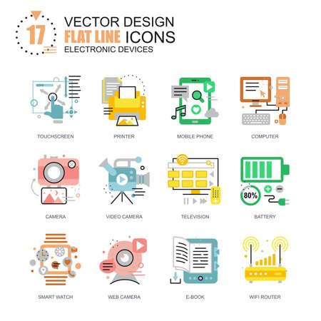 Conceptos de los iconos de los dispositivos de la computadora de la línea plana fijados para el Web site y el sitio y las aplicaciones móviles. Tecnología electrónica de consumo. Paquete simple plano del pictograma del nuevo estilo. Ilustración del vector.