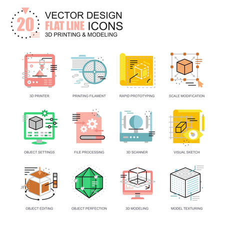 Flat line 3D printing and modeling icons concepts set for website and mobile site and apps. Volumetric object scanning, scaling technology. New style flat simple pictogram pack. Vector illustration. Illustration