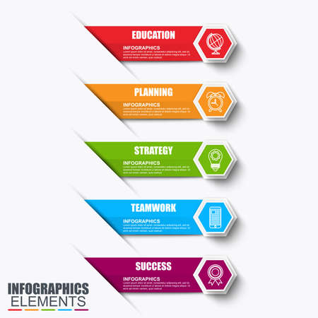 Infographics design vector and marketing icons can be used for workflow layout, diagram, annual report, web design. Business concept with 5 options, steps or processes. Çizim