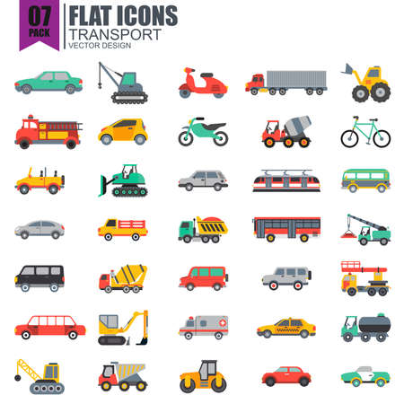 Simple set of transport flat icons vector design. Contains such as taxi, train, tram, bus, car, tractor, crane and more. Pixel Perfect. Can be used for websites, infographics, mobile apps. Illustration