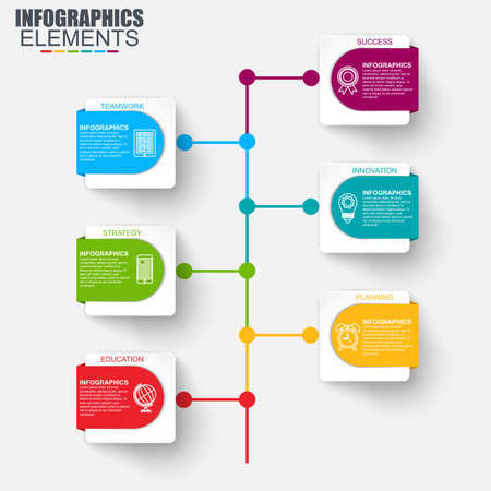 mobilephone: Timeline infographic design vector and marketing icons can be used for workflow layout, diagram, annual report, web design. Business concept with 6 options, steps or processes, info graphics.