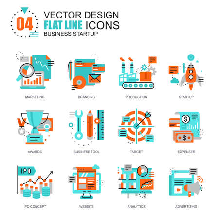 new ipo: Flat line new business launch icons concepts set for website and mobile site and apps. Startup development, market research. New style flat simple pictogram pack. Vector illustration. Illustration