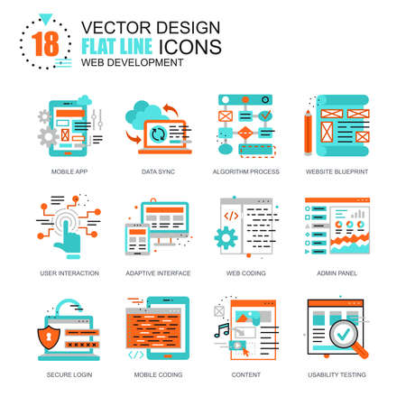 Flat line web development icons concepts set for website and mobile site and apps. Mobile apps coding, user interface testing. New style flat simple pictogram pack. Vector illustration.