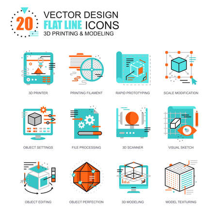 Flat line 3D printing and modeling icons concepts set for website and mobile site and apps. Volumetric object scanning, scaling technology. New style flat simple pictogram pack. Vector illustration. Ilustrace