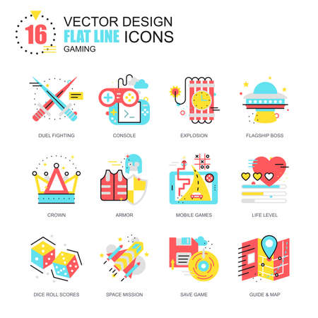 Flat line leisure mobile gaming icons concepts set for website and mobile site and apps. Computer game objects and elements. New style flat simple pictogram pack. Vector illustration.