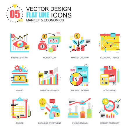 Flat line global market economics icons concepts set for website and mobile site and apps. Funds raising and financial trends. New style flat simple pictogram pack. Vector illustration. 向量圖像
