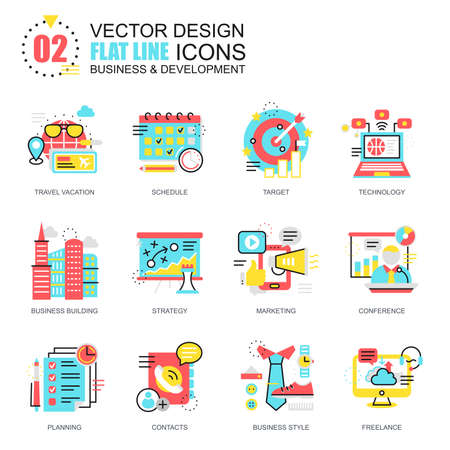 tactics: Flat line business and development icons concepts set for website and mobile site and apps. Marketing tactics, planning working goals. New style flat simple pictogram pack. Vector illustration. Illustration