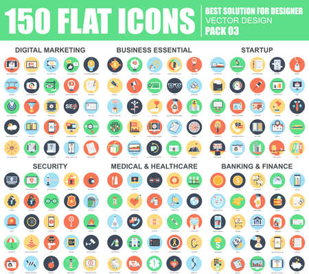 Flat digital marketing, business startup, security, medical and healthcare, banking and finance icons set for website and mobile site and apps. Simple pictogram pack. Vector illustration.