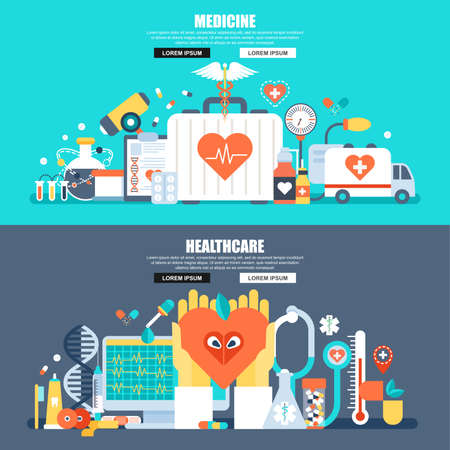 Flat concept web banner of online medical diagnosis and treatment