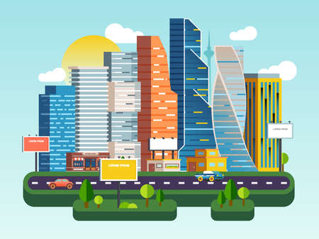 Flat vector cartoon illustration urban landscape street with cars, skyline city office buildings, family houses, skyscrapers and business centers, supermarkets in background. Traffic on the road.
