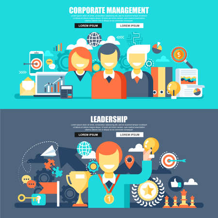 Business flat concept web banner of corporate management and project workflow, leadership and teamwork. Conceptual vector illustration for web design, marketing, graphic design.
