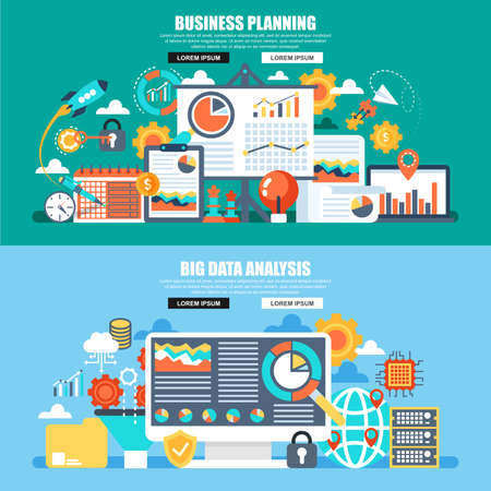 Business flat concept web banner of big data analysis, global analytics, financial research report, marketing statistics, planning. Conceptual vector illustration for marketing, web design.