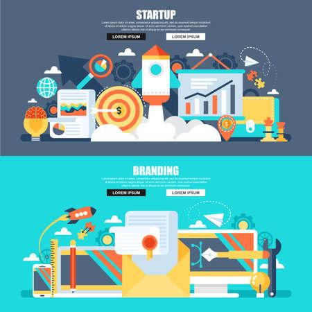 Flat concept web banner of social campaign, startup, marketing, mobile marketing, advertising, promotion, business branding. Conceptual vector illustration for web design, marketing, graphic design.