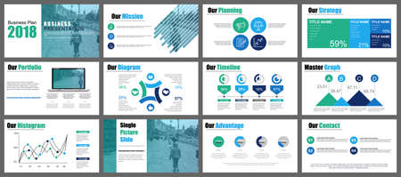 Green and blue presentation slides templates from info graphic elements Vettoriali
