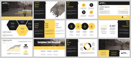 Yellow and black presentation slides templates from info graphic elements Vectores