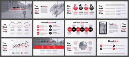 Red and grey presentation slides templates from info graphic elements Illustration