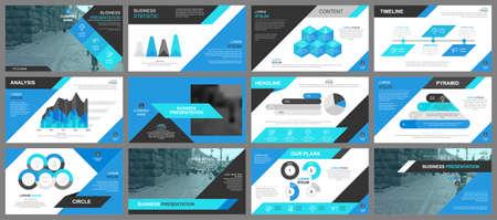 Niebieska prezentacja przesuwa szablony z elementów graficznych informacji Ilustracje wektorowe