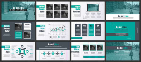 Green and black presentation slides templates from info graphic elements