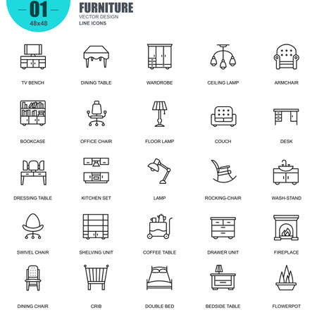 dining table and chairs: Simple Set of Furniture Line Icons