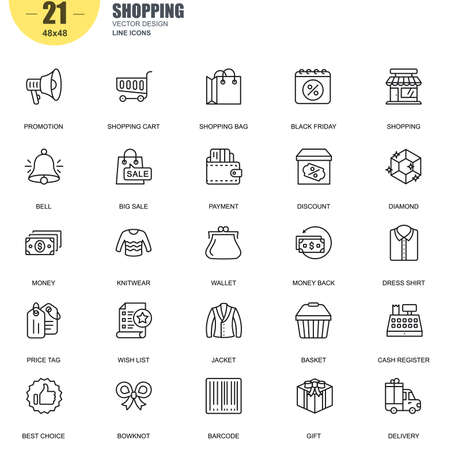 Simple Set of Shopping Related Vector Line Icons. Contains such Icons as Promotion, Wallet, Payment, Big Sale, Basket, Price Tag, Money, Delivery and more. Editable Stroke. 48x48 Pixel Perfect. Ilustração