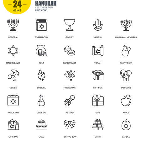 jewish star: Simple Set of Hanukah Related Vector Line Icons. Contains such Icons as Menorah, Torah Book, Candle, Dreidel, Hamesh, Sufganiyot and more. Editable Stroke. 48x48 Pixel Perfect. Illustration