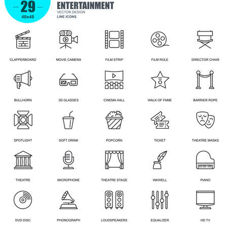 camera film: Simple Set of Entertainment Related Vector Line Icons. Contains such Icons as Clapperboard, Film Strip, Barrier Rope, Theatre, 3d Glasses and more. Editable Stroke. 48x48 Pixel Perfect.