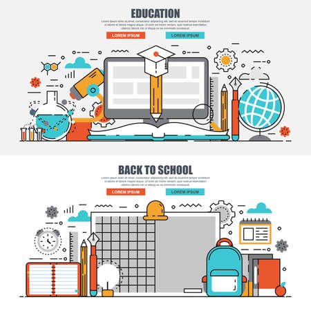 Business flat line concept web banner of online education, video tutorials, learning, knowledge, back to school, study. Conceptual linear vector illustration for web design, marketing, graphic design.