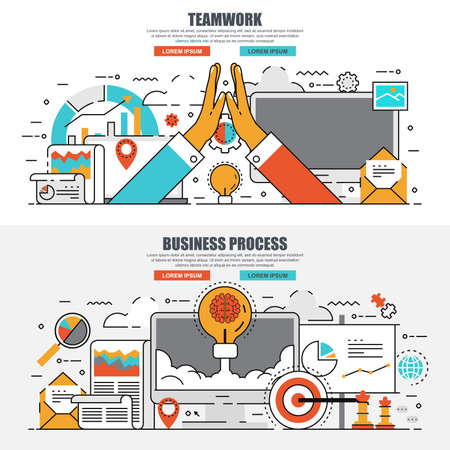 Business flat line concept web banner of business process and brainstorming, leadership and teamwork. Conceptual linear vector illustration for web design, marketing, graphic design. Illusztráció