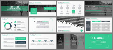 Green and gray business presentation slides templates from infographic elements. Can be used for presentation, leaflet, brochure, corporate report, marketing, advertising, annual report, banner.