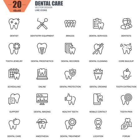 Dunne lijn tandheelkundige zorg, tandheelkundige apparatuur, hygiëne pictogrammen instellen voor website en mobiele site en apps. Bevat pictogrammen zoals tandarts, beugels. 48x48 Pixel Perfect. Bewerkbare lijn. Vector illustratie.