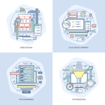 Blauwe platte conceptuele iconen set van webdesign, UI UX-ontwikkeling, programmering, optimalisatie. Concepten voor website en grafisch ontwerp. Mobiele en gedrukte media. Stockfoto - 92410438