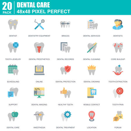 Flat dental care, dentistry equipment, hygiene icons set for website and mobile site and apps. Contains such Icons as Dentist, Braces. 48x48 Pixel Perfect. Editable Stroke. Vector illustration.