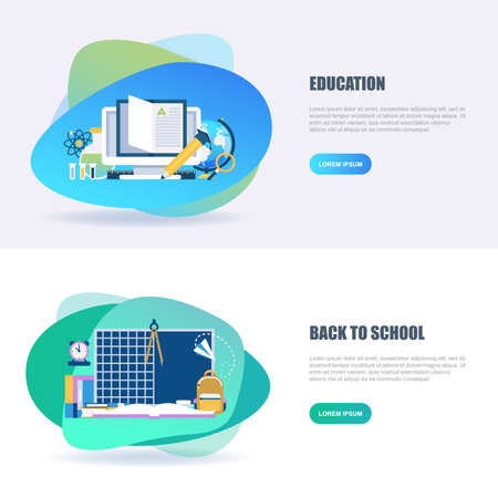 Flat concept web banner of online education, video tutorials, staff training, learning, knowledge, back to school, study. Conceptual vector illustration for web design, marketing, and graphic design. Stock Illustratie