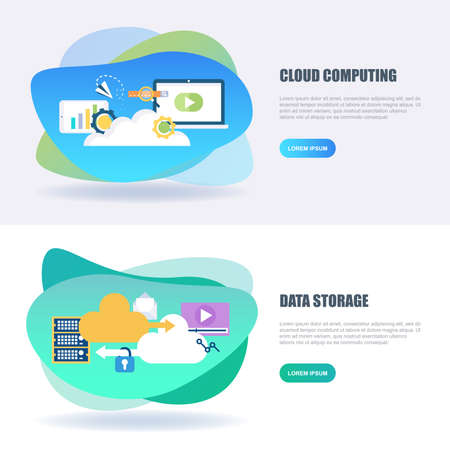 Flat concept web banner of cloud data technology services, global connection, cloud computing, web and app development. Conceptual vector illustration for web design, marketing, and graphic design. Vector Illustration