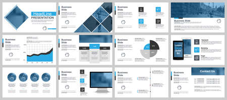 Business presentation slides templates from infographic elements. Can be used for presentation, flyer and leaflet, brochure, corporate report, marketing, advertising, annual report, banner, booklet.
