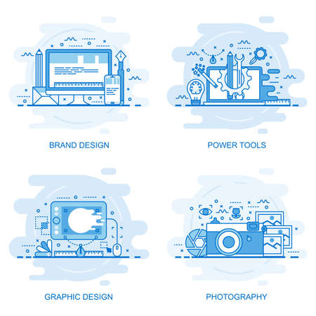 Modern flat color line concept. Web banner of photography, graphic design, power tools and brand design. Conceptual vector illustration for web design, marketing, and graphic design. Vettoriali