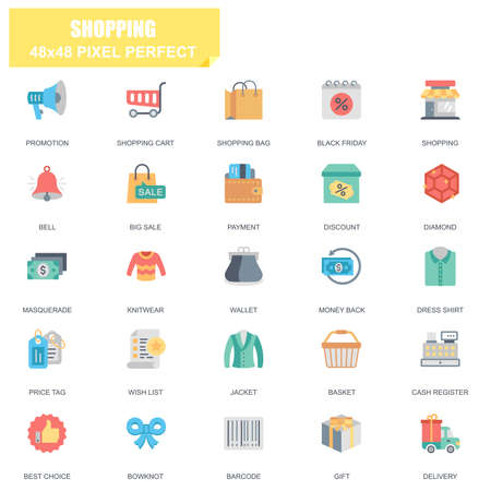 Simple Set of Shopping Related Vector Flat Icons. Contains such Icons as Promotion, Wallet, Payment, Big Sale, Basket, Price Tag, Money, Delivery and more. Editable Stroke. 48x48 Pixel Perfect.