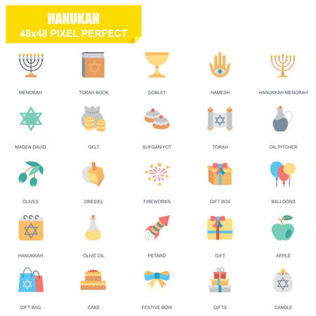 Simple set of hanukah related vector flat icons. Contains such icons as menorah, torah book, candle, dreidel, hamesh, sufganiyot and more. Editable stroke,  48 x 48 pixel perfect. Illustration