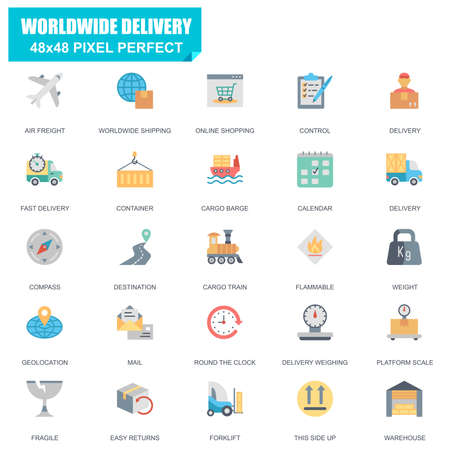 Simple Set of Delivery Related Vector Flat Icons. Contains such Icons as Air Freight, Cargo Train, Worldwide Shipping, Destination, Warehouse and more. Editable Stroke. 48x48 Pixel Perfect.