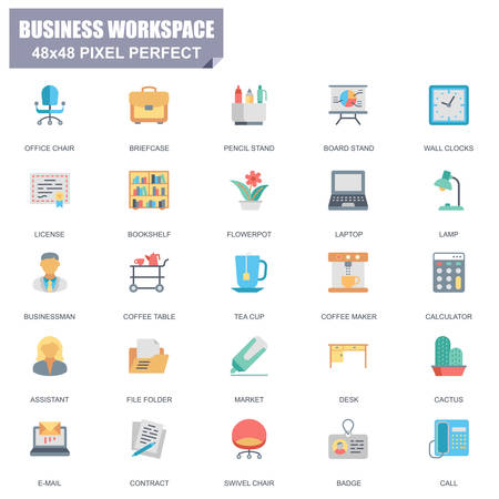 Simple set of business work space related vector flat icons. Contains such icons as office chair, bookshelf, laptop, businessman, board stand and more. Editable stroke,  48 x 48 pixel perfect. Stock Illustratie