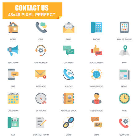 Simple set of contact us related vector flat icons. Contains such icons as phone, tablet, bullhorn, address book, contact form, calendar and more. Editable stroke,  48 x 48 pixel perfect. Illustration