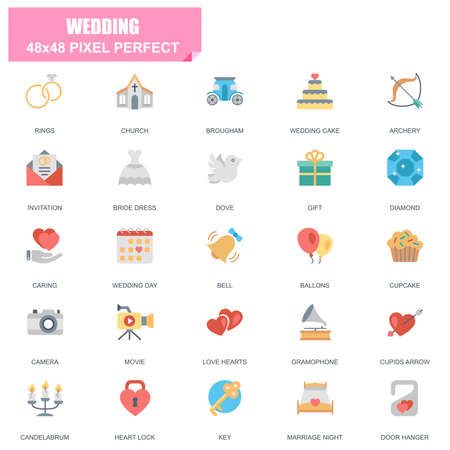 Simple set of wedding related vector flat icons. Contains such icons as bride dress, balloons, rings, brougham, love hearts, gift, invitation and more. Editable stroke, 48 x 48 pixel perfect. Ilustração