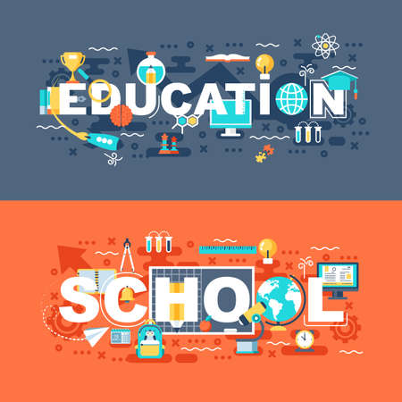 Online education and school set of flat concept. Banners with slogan for website and graphic design.