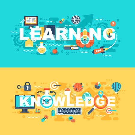 Learning and knowledge set of flat concept. Banners with slogan for website and graphic design. Flat icons. Mobile and print media. Vector illustration. Ilustração