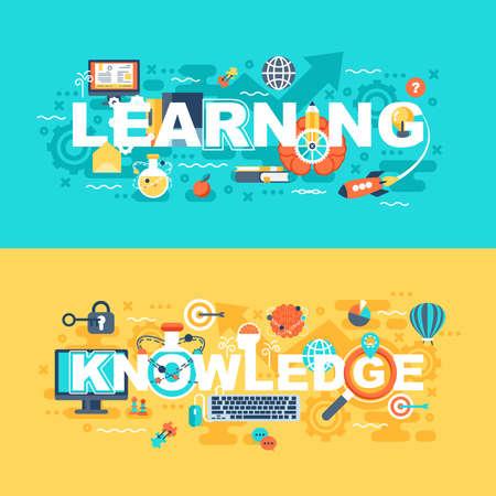 Leren en kennis set van platte concept. Banners met slogan voor website en grafisch ontwerp. Plat pictogrammen. Mobiele en gedrukte media. Vector illustratie Stock Illustratie