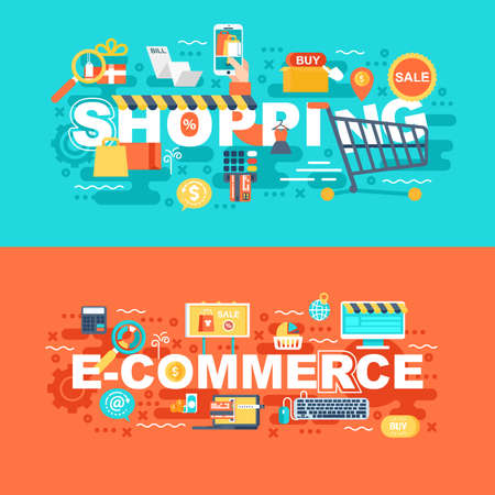 Shopping and e-commerce set of flat concept. Banners with slogan for website and graphic design. Flat icons. Mobile and print media. Vector illustration.