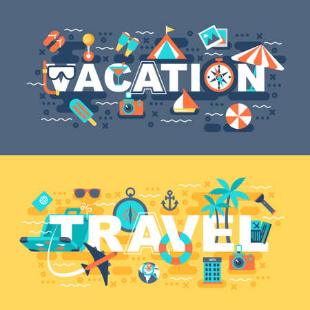 Travel and vacation set of flat concept. Banners with slogan for website and graphic design.